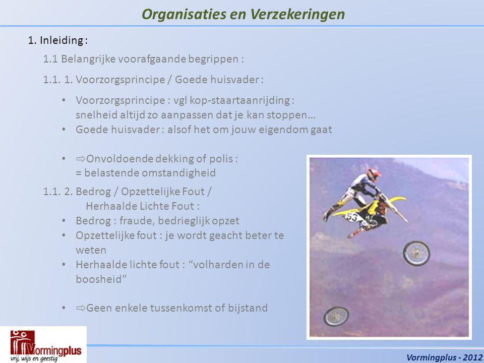 Organisaties en Verzekeringen Vormingplus - 2012 1.