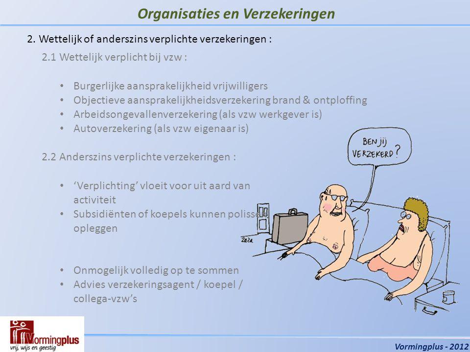 Organisaties en Verzekeringen Vormingplus - 2012 2.