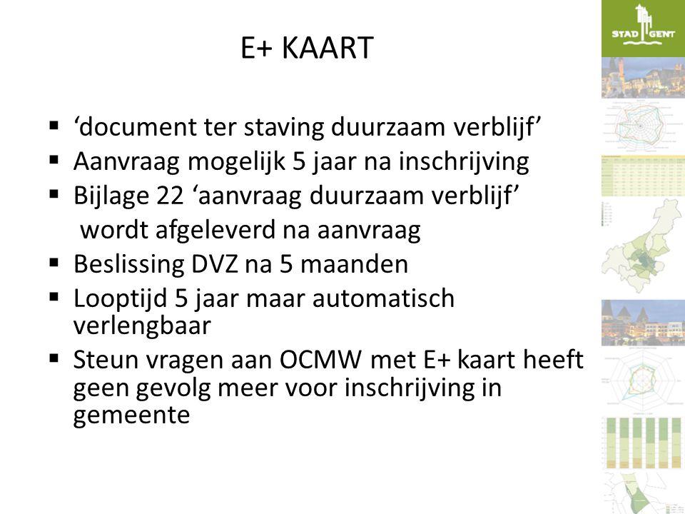 E+ KAART  'document ter staving duurzaam verblijf'  Aanvraag mogelijk 5 jaar na inschrijving  Bijlage 22 'aanvraag duurzaam verblijf' wordt afgelev