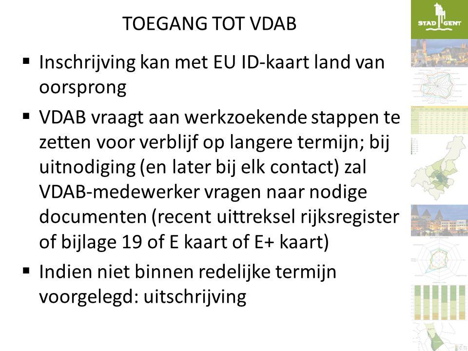 TOEGANG TOT VDAB  Inschrijving kan met EU ID-kaart land van oorsprong  VDAB vraagt aan werkzoekende stappen te zetten voor verblijf op langere termi