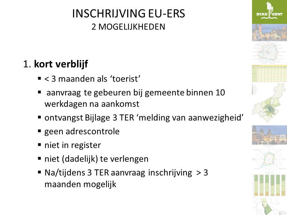 INSCHRIJVING EU-ERS 2 MOGELIJKHEDEN 1. kort verblijf  < 3 maanden als 'toerist'  aanvraag te gebeuren bij gemeente binnen 10 werkdagen na aankomst 