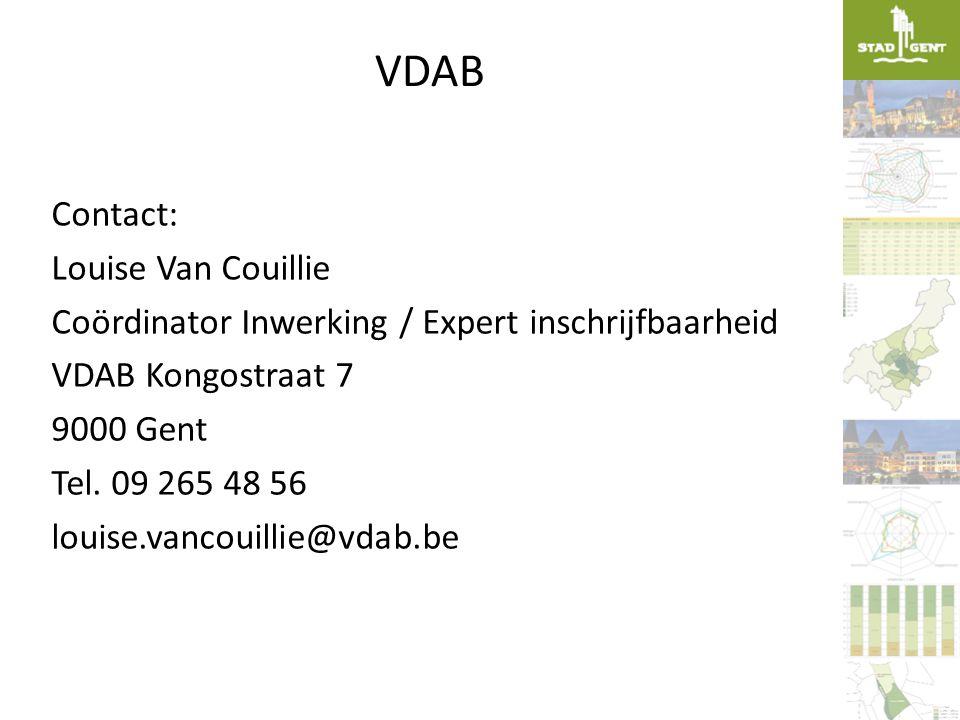 VDAB Contact: Louise Van Couillie Coördinator Inwerking / Expert inschrijfbaarheid VDAB Kongostraat 7 9000 Gent Tel. 09 265 48 56 louise.vancouillie@v