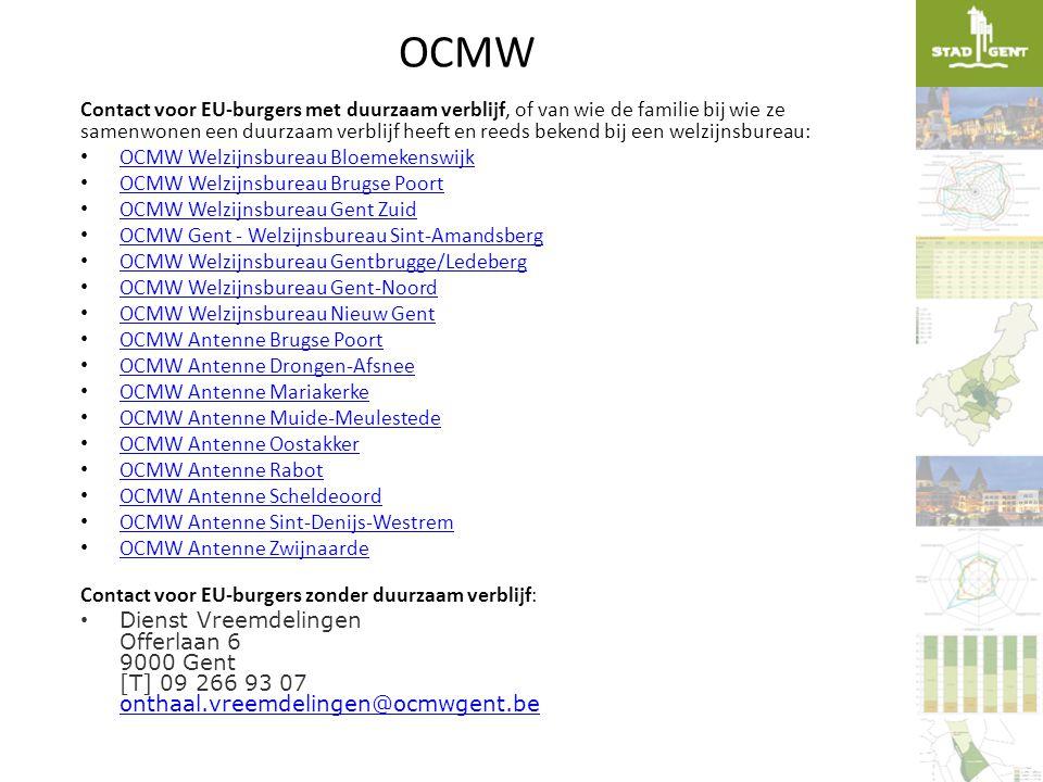 OCMW Contact voor EU-burgers met duurzaam verblijf, of van wie de familie bij wie ze samenwonen een duurzaam verblijf heeft en reeds bekend bij een we