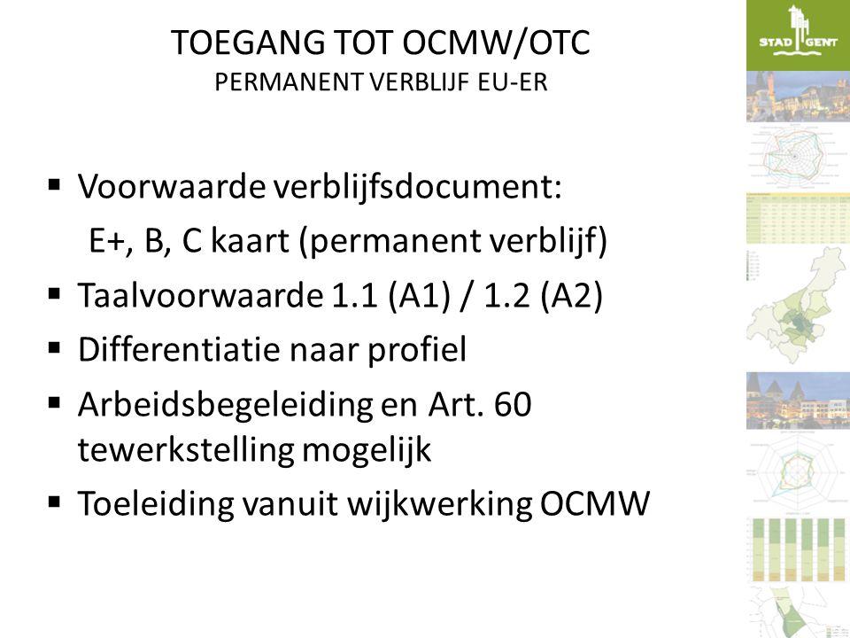 TOEGANG TOT OCMW/OTC PERMANENT VERBLIJF EU-ER  Voorwaarde verblijfsdocument: E+, B, C kaart (permanent verblijf)  Taalvoorwaarde 1.1 (A1) / 1.2 (A2)