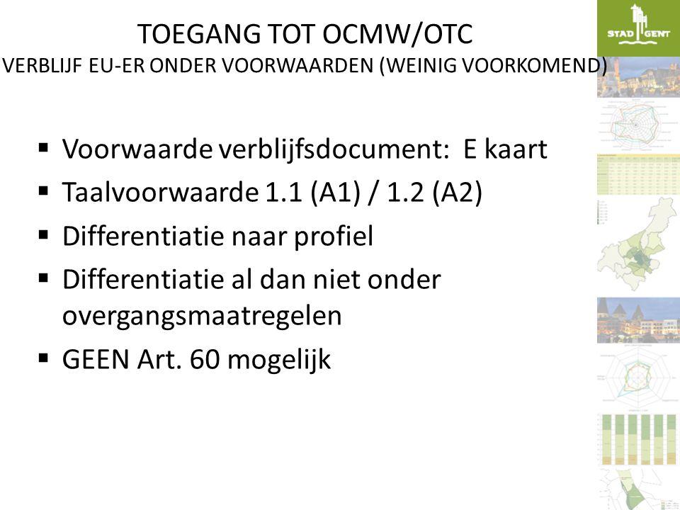 TOEGANG TOT OCMW/OTC VERBLIJF EU-ER ONDER VOORWAARDEN (WEINIG VOORKOMEND)  Voorwaarde verblijfsdocument: E kaart  Taalvoorwaarde 1.1 (A1) / 1.2 (A2)