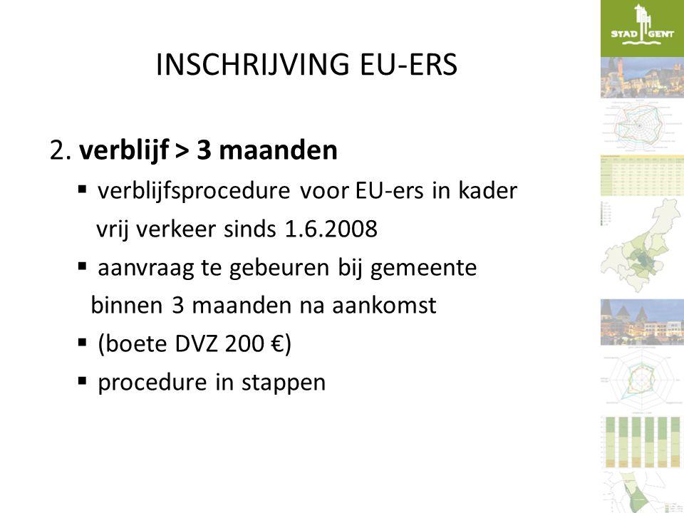 INSCHRIJVING EU-ERS 2. verblijf > 3 maanden  verblijfsprocedure voor EU-ers in kader vrij verkeer sinds 1.6.2008  aanvraag te gebeuren bij gemeente