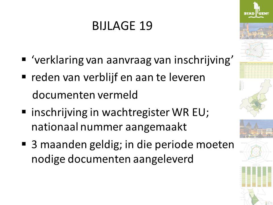 BIJLAGE 19  'verklaring van aanvraag van inschrijving'  reden van verblijf en aan te leveren documenten vermeld  inschrijving in wachtregister WR E