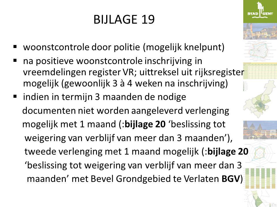 BIJLAGE 19  woonstcontrole door politie (mogelijk knelpunt)  na positieve woonstcontrole inschrijving in vreemdelingen register VR; uittreksel uit r