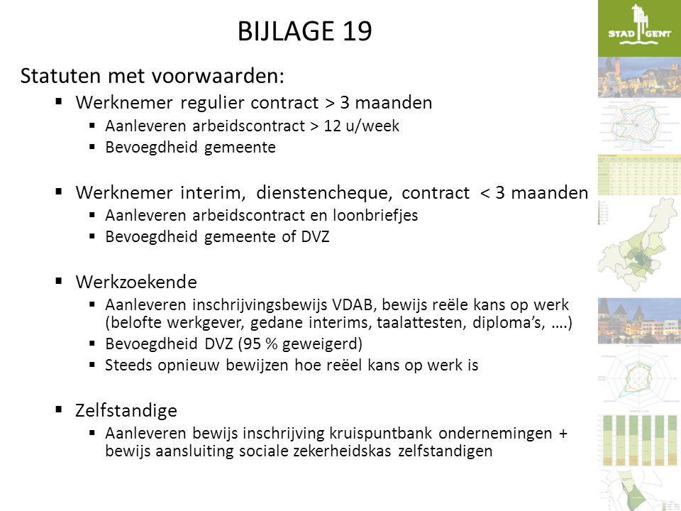 BIJLAGE 19 Statuten met voorwaarden:  Werknemer regulier contract > 3 maanden  Aanleveren arbeidscontract > 12 u/week  Bevoegdheid gemeente  Werkn