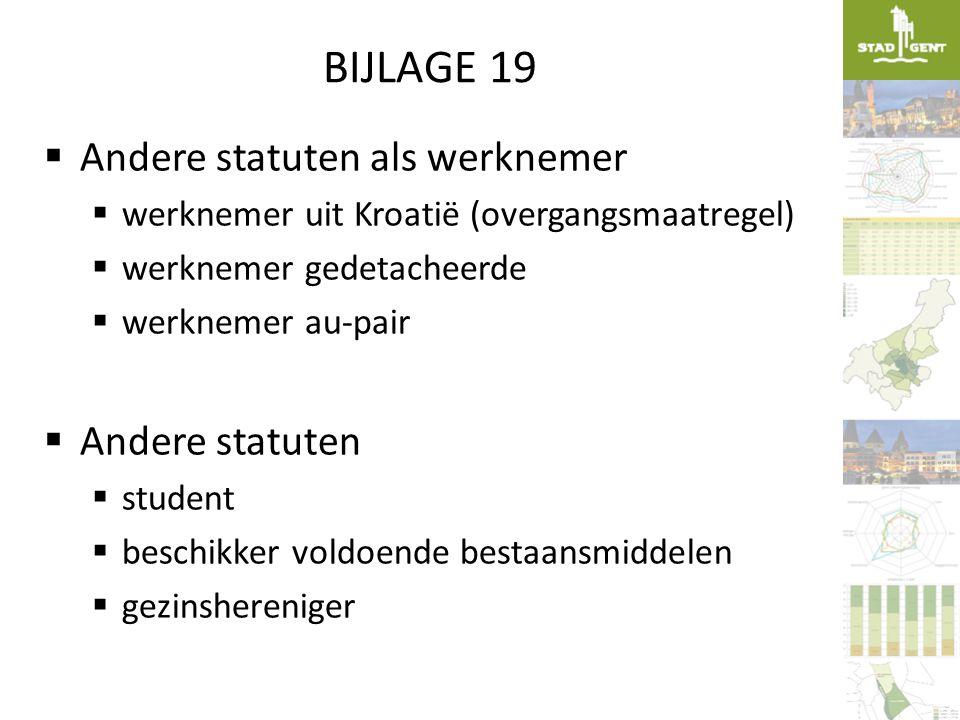 BIJLAGE 19  Andere statuten als werknemer  werknemer uit Kroatië (overgangsmaatregel)  werknemer gedetacheerde  werknemer au-pair  Andere statute