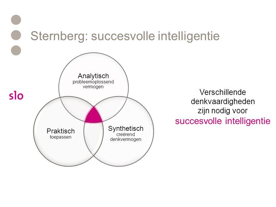 Sternberg: succesvolle intelligentie Analytisch probleemoplossend vermogen Synthetisch creërend denkvermogen Praktisch toepassen De vaardigheid die we vooral met schoolse activiteiten verbinden: •Inzicht •Logisch redeneren •Informatie opnemen en weergeven •Hoofd- en bijzaken onderscheiden •Denkprocessen en oplossingsrichting(en) overzien •Objectiviteit Deze vaardigheden vallen vooral samen met wat bij de meeste IQ- testen gemeten wordt.