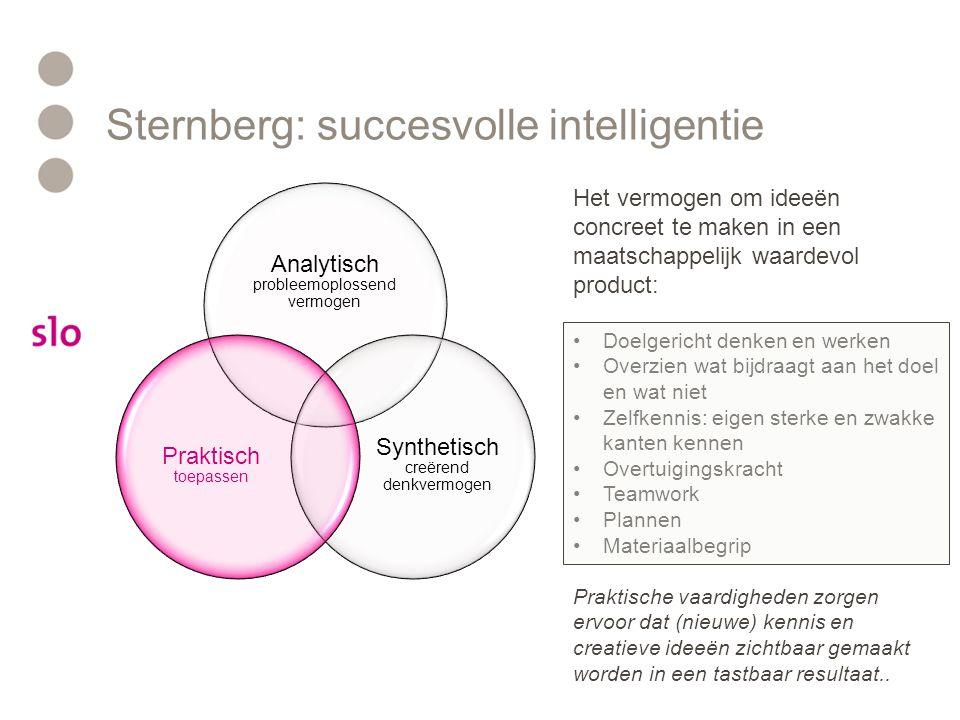 Sternberg: succesvolle intelligentie Analytisch probleemoplossend vermogen Synthetisch creërend denkvermogen Praktisch toepassen Het vermogen om ideeë