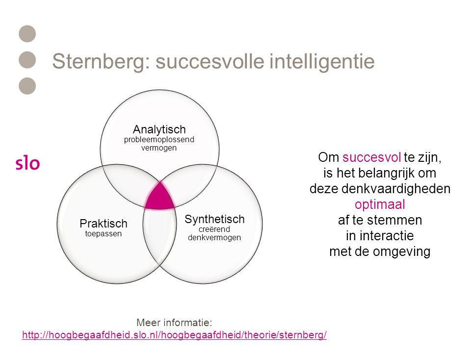 Sternberg: succesvolle intelligentie Om succesvol te zijn, is het belangrijk om deze denkvaardigheden optimaal af te stemmen in interactie met de omge