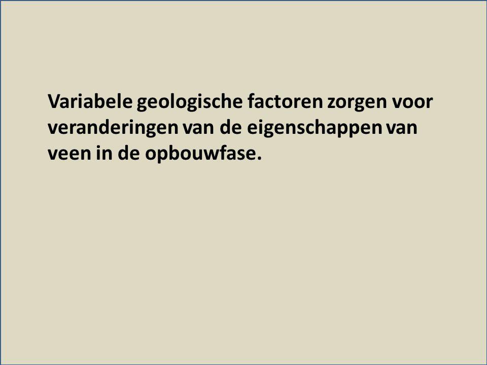 Variabele geologische factoren zorgen voor veranderingen van de eigenschappen van veen in de opbouwfase.