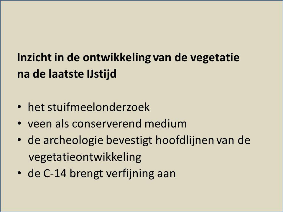 Inzicht in de ontwikkeling van de vegetatie na de laatste IJstijd • het stuifmeelonderzoek • veen als conserverend medium • de archeologie bevestigt h