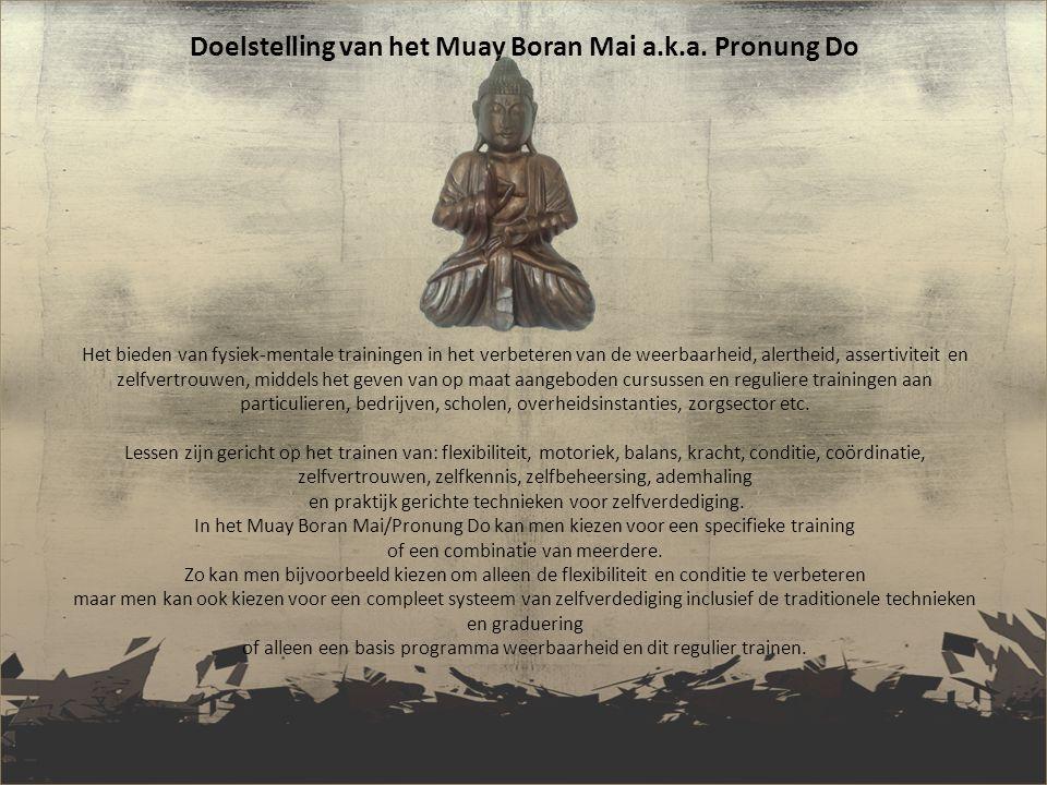 Ontstaan van de stijl: Muay Boran Mai//Pronung Do is een samengestelde kunst van zelfverdedigen Muay Boran wordt door velen gezien als het ongewapende vechten van het Krabi Krabong, militaire training van het (oude) Thaise leger.