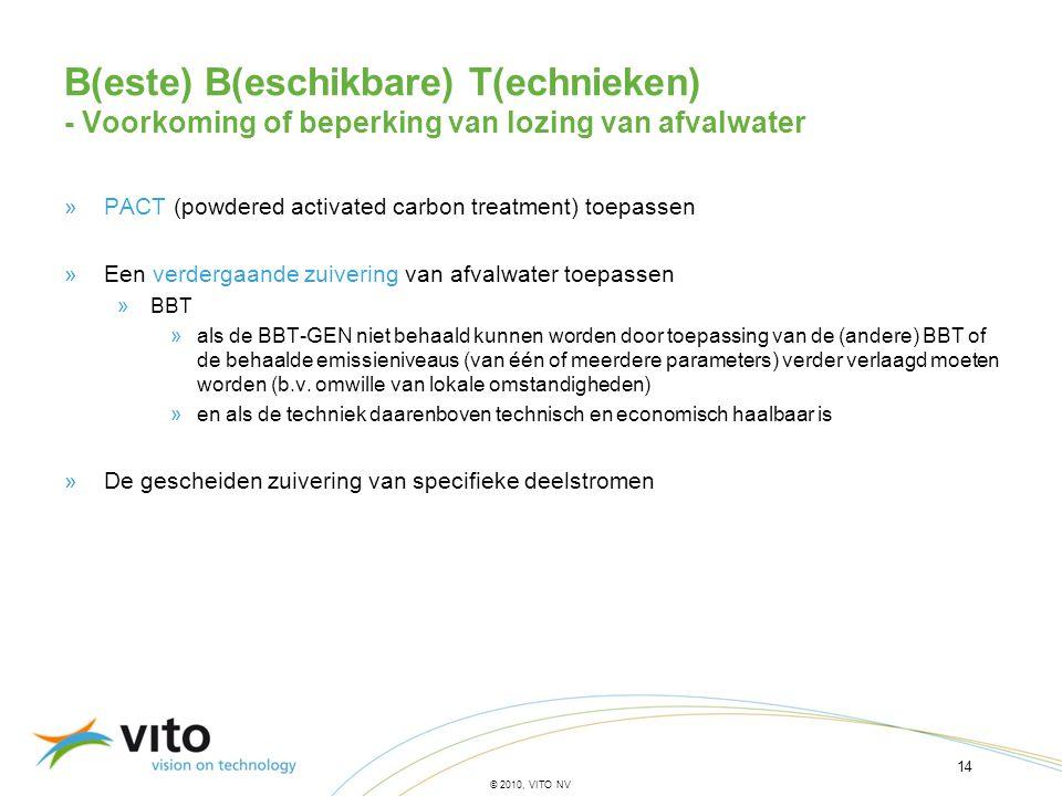 14 © 2010, VITO NV B(este) B(eschikbare) T(echnieken) - Voorkoming of beperking van lozing van afvalwater »PACT (powdered activated carbon treatment)