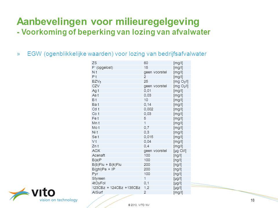 18 © 2010, VITO NV »EGW (ogenblikkelijke waarden) voor lozing van bedrijfsafvalwater Aanbevelingen voor milieuregelgeving - Voorkoming of beperking va
