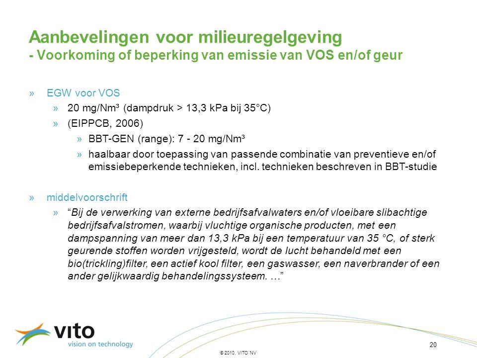20 © 2010, VITO NV Aanbevelingen voor milieuregelgeving - Voorkoming of beperking van emissie van VOS en/of geur »EGW voor VOS »20 mg/Nm³ (dampdruk >