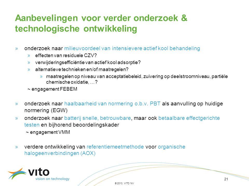 21 © 2010, VITO NV »onderzoek naar milieuvoordeel van intensievere actief kool behandeling »effecten van residuele CZV? »verwijderingsefficiëntie van