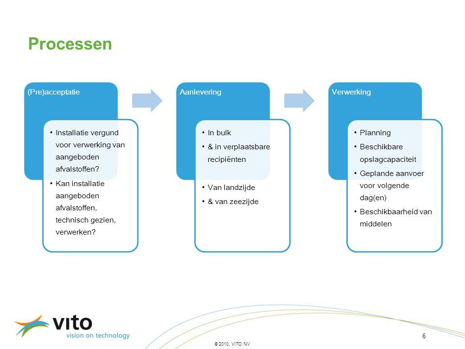 6 © 2010, VITO NV Processen (Pre)acceptatie •Installatie vergund voor verwerking van aangeboden afvalstoffen? •Kan installatie aangeboden afvalstoffen