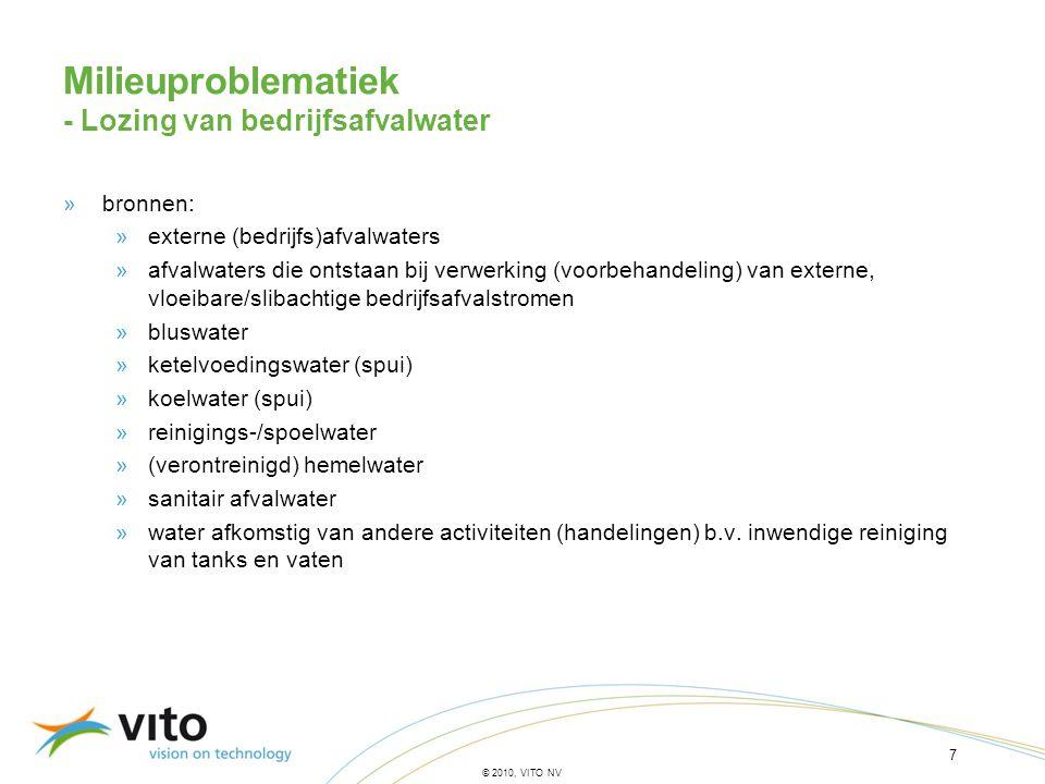 18 © 2010, VITO NV »EGW (ogenblikkelijke waarden) voor lozing van bedrijfsafvalwater Aanbevelingen voor milieuregelgeving - Voorkoming of beperking van lozing van afvalwater ZS60[mg/l] F - (opgelost)15[mg/l] N tgeen voorstel[mg/l] P t2[mg/l] BZV 5 25[mg O 2 /l] CZVgeen voorstel[mg O 2 /l] Ag t0,01[mg/l] As t0,03[mg/l] B t10[mg/l] Ba t0,14[mg/l] Cd t0,002[mg/l] Co t0,03[mg/l] Fe t5[mg/l] Mn t1[mg/l] Mo t0,7[mg/l] Ni t0,3[mg/l] Se t0,015[mg/l] V t0,04[mg/l] Zn t0,4[mg/l] AOXgeen voorstel[µg Cl/l] Acenaft100[ng/l] B(a)P100[ng/l] B(b)Flu + B(k)Flu200[ng/l] B(ghi)Pe + IP200[ng/l] Pyr100[ng/l] Styreen1[µg/l] 4tOyFol0,1[µg/l] 123CBz + 124CBz +135CBz1,2[µg/l] AISurf2[mg/l]