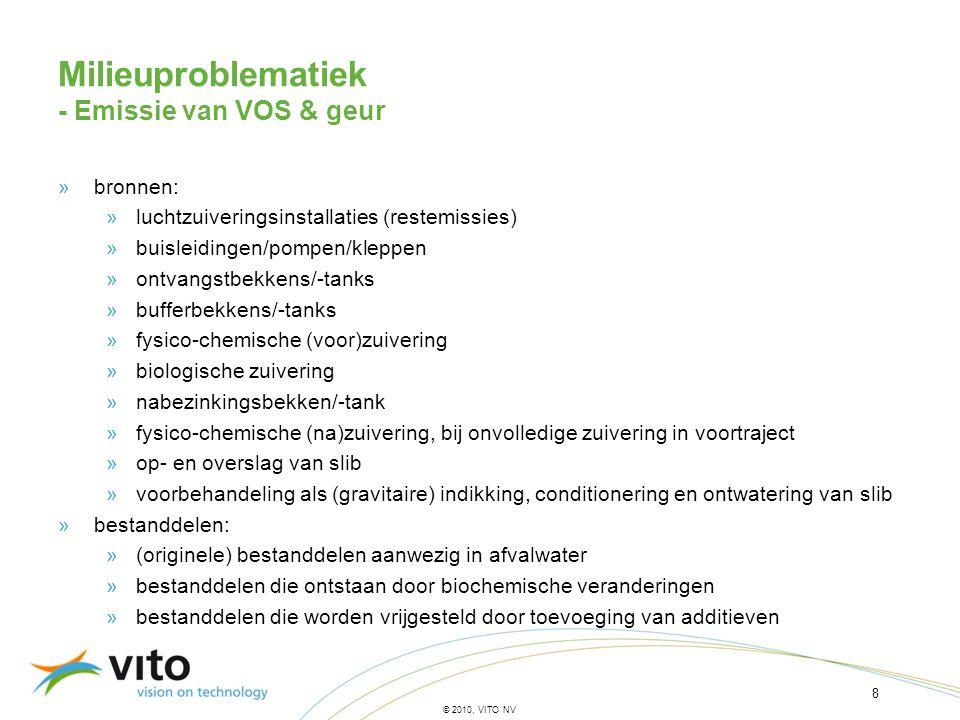 8 © 2010, VITO NV Milieuproblematiek - Emissie van VOS & geur »bronnen: »luchtzuiveringsinstallaties (restemissies) »buisleidingen/pompen/kleppen »ont