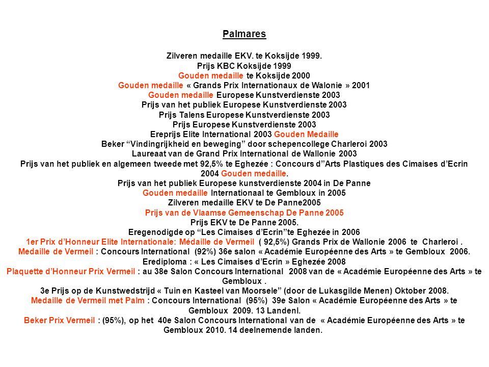 Palmares Zilveren medaille EKV. te Koksijde 1999. Prijs KBC Koksijde 1999 Gouden medaille te Koksijde 2000 Gouden medaille « Grands Prix Internationau