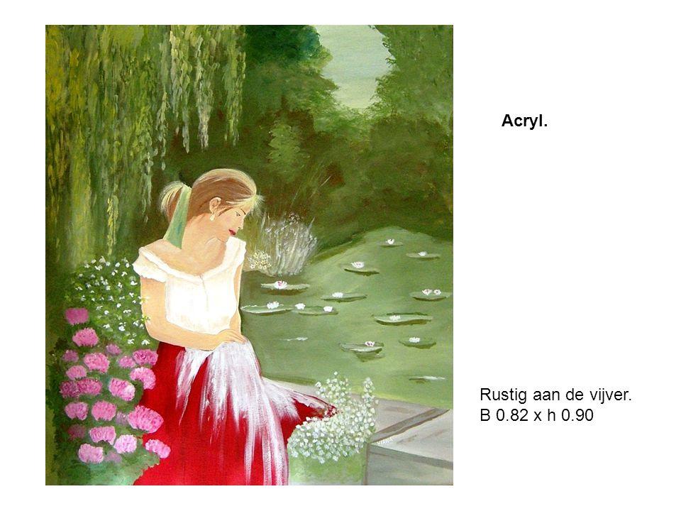 Acryl. Rustig aan de vijver. B 0.82 x h 0.90