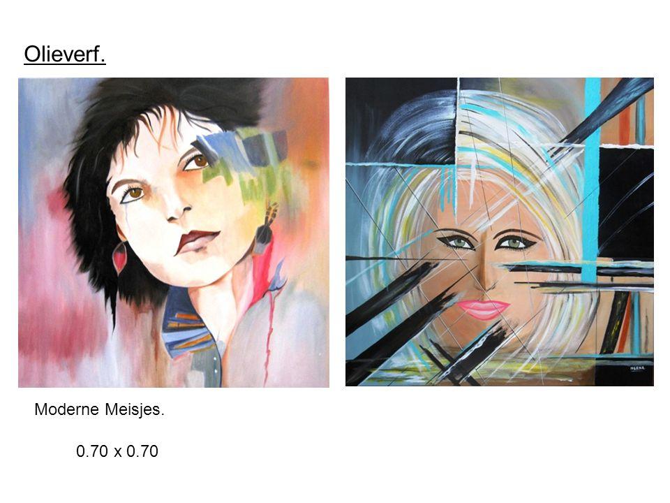 Olieverf. 0.70 x 0.70 Moderne Meisjes.