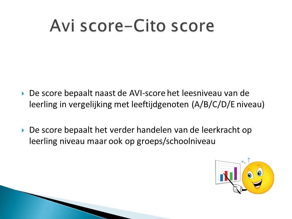  De score bepaalt naast de AVI-score het leesniveau van de leerling in vergelijking met leeftijdgenoten (A/B/C/D/E niveau)  De score bepaalt het ver