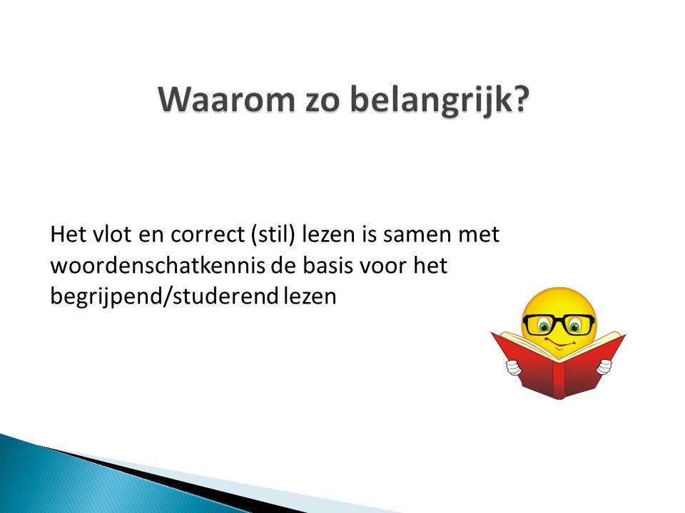 Het vlot en correct (stil) lezen is samen met woordenschatkennis de basis voor het begrijpend/studerend lezen