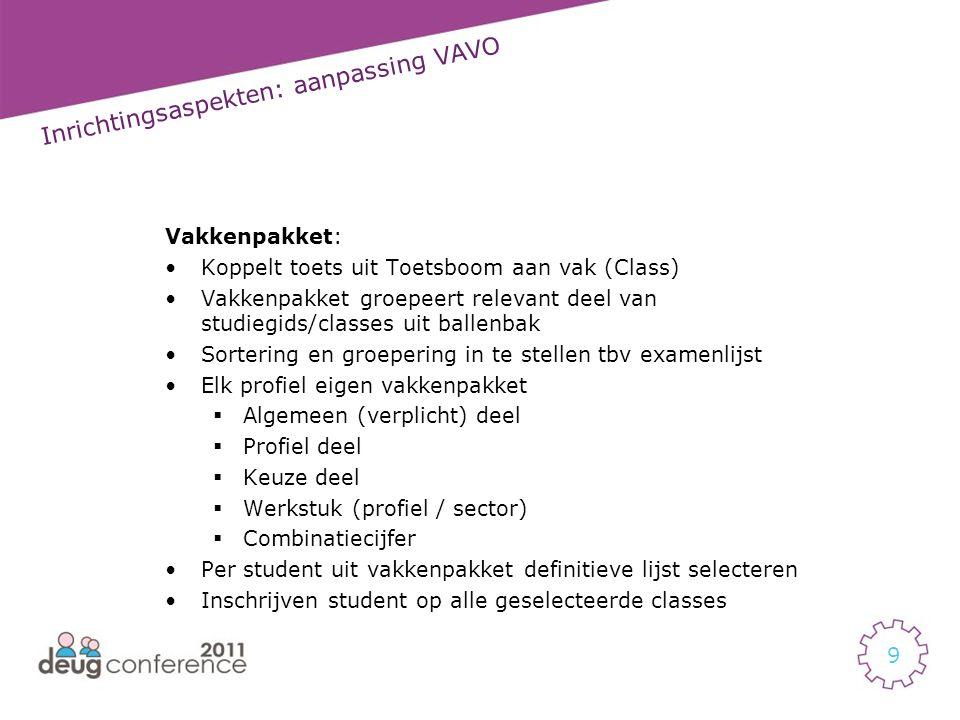 10 Inrichtingsaspekten: aanpassing VAVO Vakkenpakket: •Beoordeling (jurering) definiëren op vakkenpakket niveau.