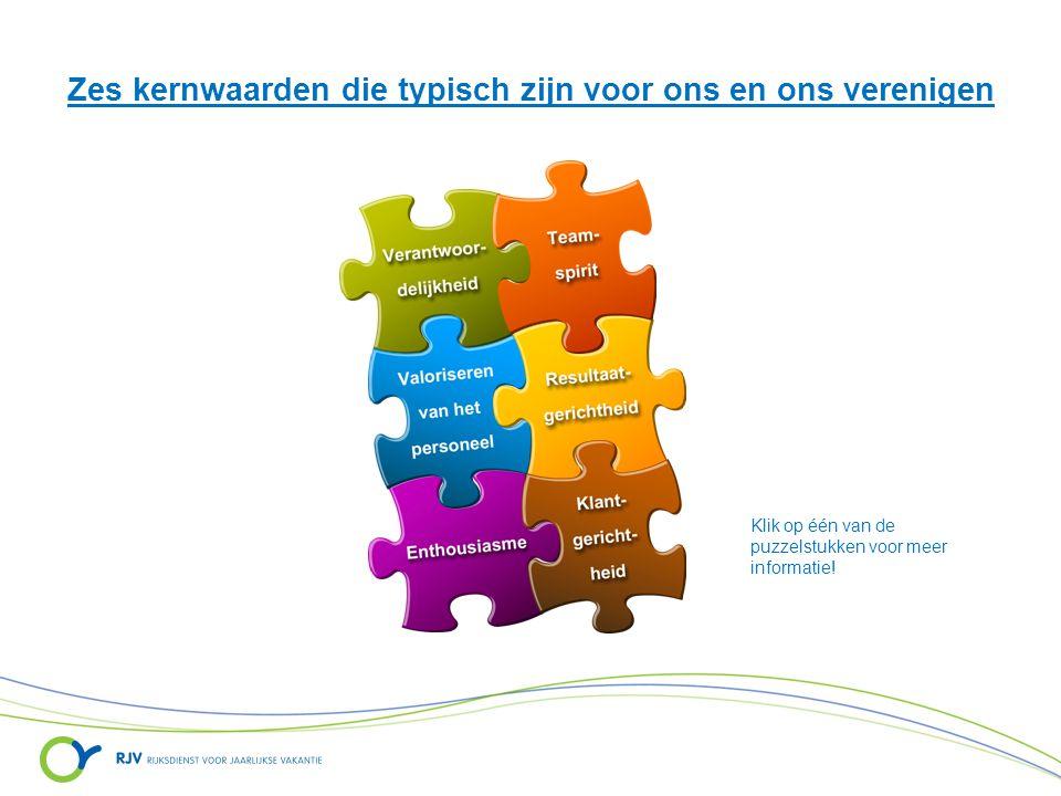 Zes kernwaarden die typisch zijn voor ons en ons verenigen Klik op één van de puzzelstukken voor meer informatie!