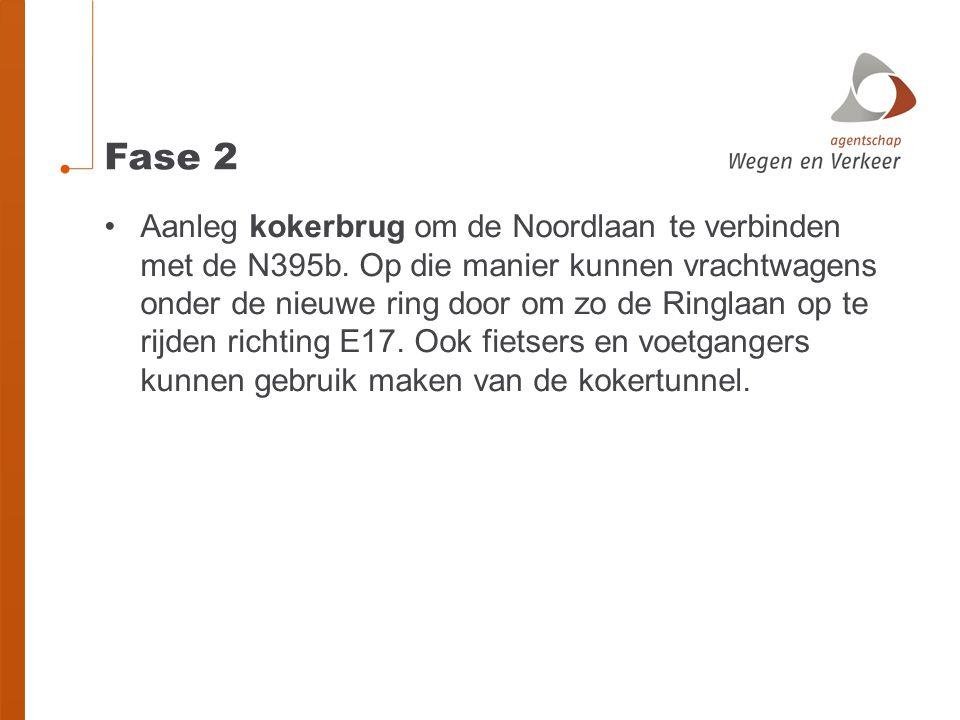 Fase 2 •Aanleg kokerbrug om de Noordlaan te verbinden met de N395b. Op die manier kunnen vrachtwagens onder de nieuwe ring door om zo de Ringlaan op t