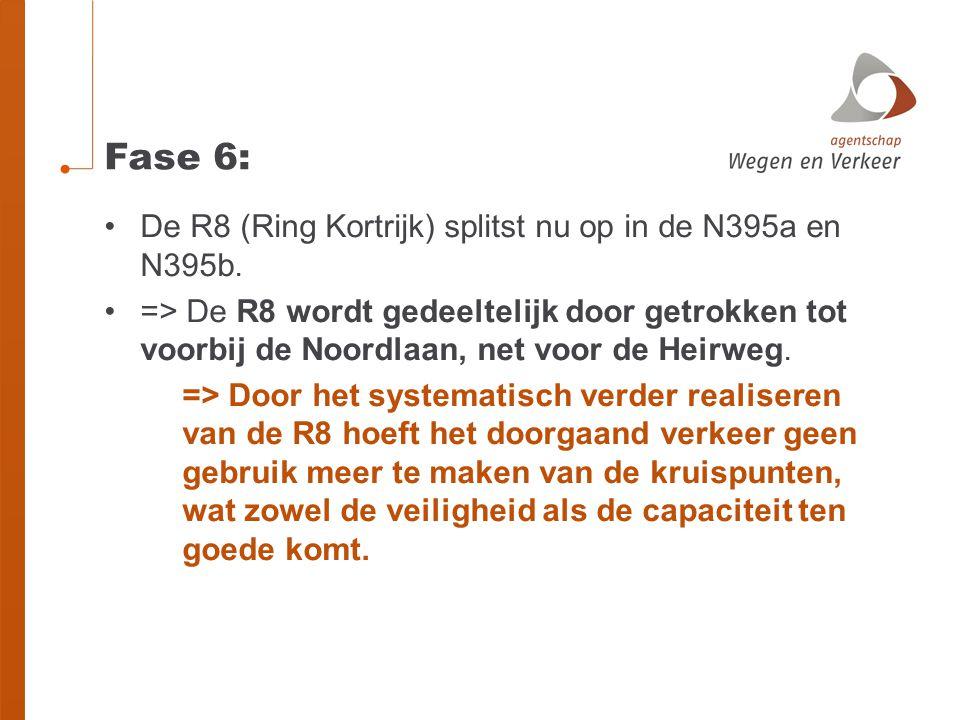 Fase 6: •De R8 (Ring Kortrijk) splitst nu op in de N395a en N395b. •=> De R8 wordt gedeeltelijk door getrokken tot voorbij de Noordlaan, net voor de H