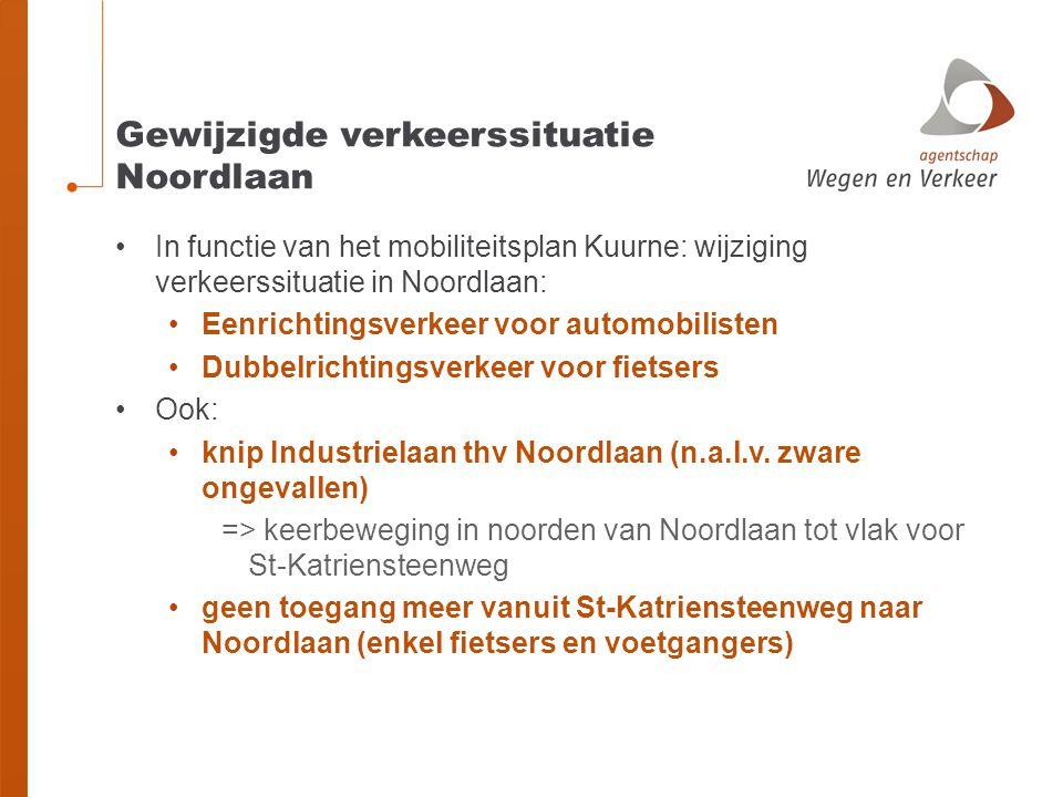 Gewijzigde verkeerssituatie Noordlaan •In functie van het mobiliteitsplan Kuurne: wijziging verkeerssituatie in Noordlaan: •Eenrichtingsverkeer voor a