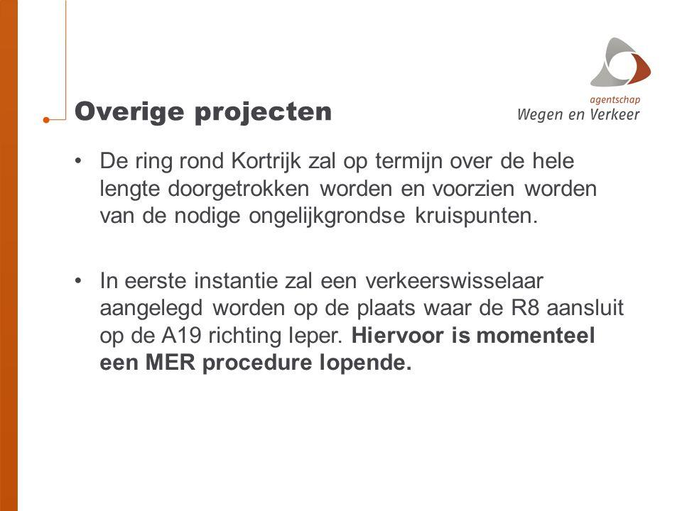 Overige projecten •De ring rond Kortrijk zal op termijn over de hele lengte doorgetrokken worden en voorzien worden van de nodige ongelijkgrondse kruispunten.