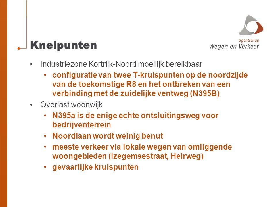 Knelpunten •Industriezone Kortrijk-Noord moeilijk bereikbaar •configuratie van twee T-kruispunten op de noordzijde van de toekomstige R8 en het ontbre