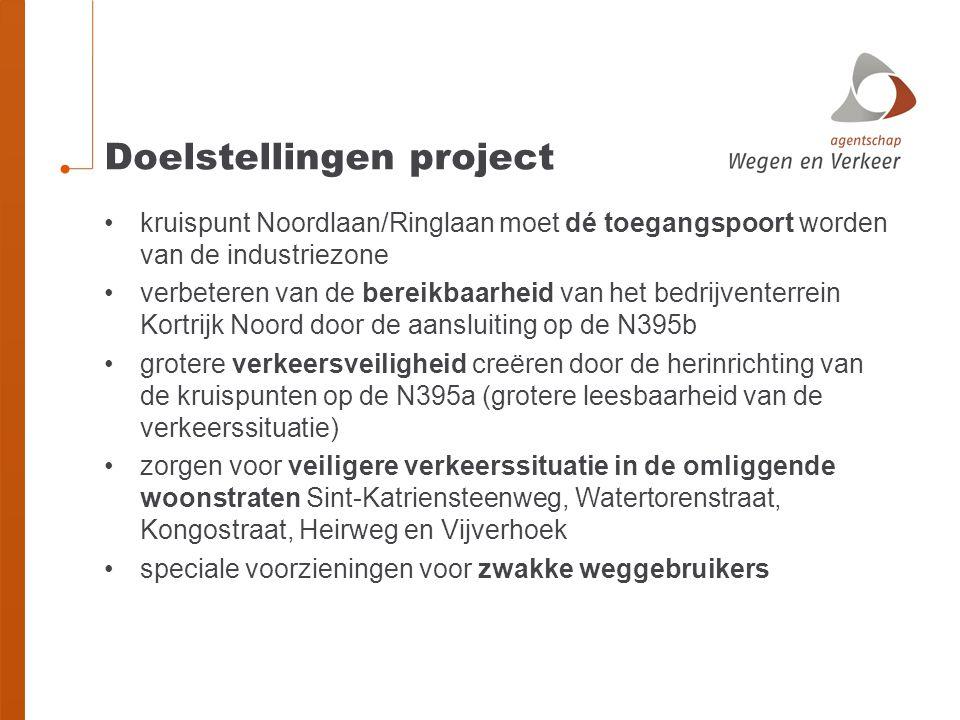 Doelstellingen project •kruispunt Noordlaan/Ringlaan moet dé toegangspoort worden van de industriezone •verbeteren van de bereikbaarheid van het bedri