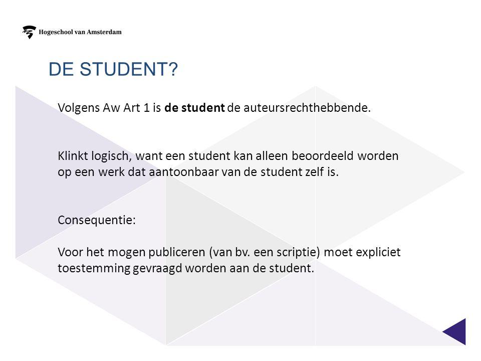 Volgens Aw Art 1 is de student de auteursrechthebbende.