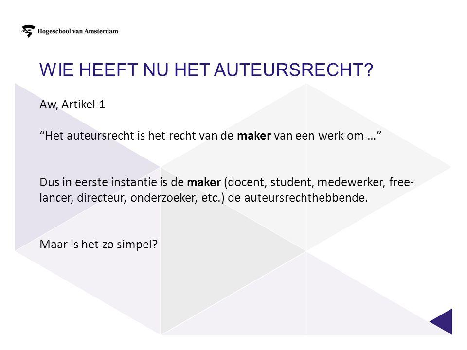 DE MEDEWERKER.Volgens Aw, art 1 is de medewerker de auteursrechthebbende.