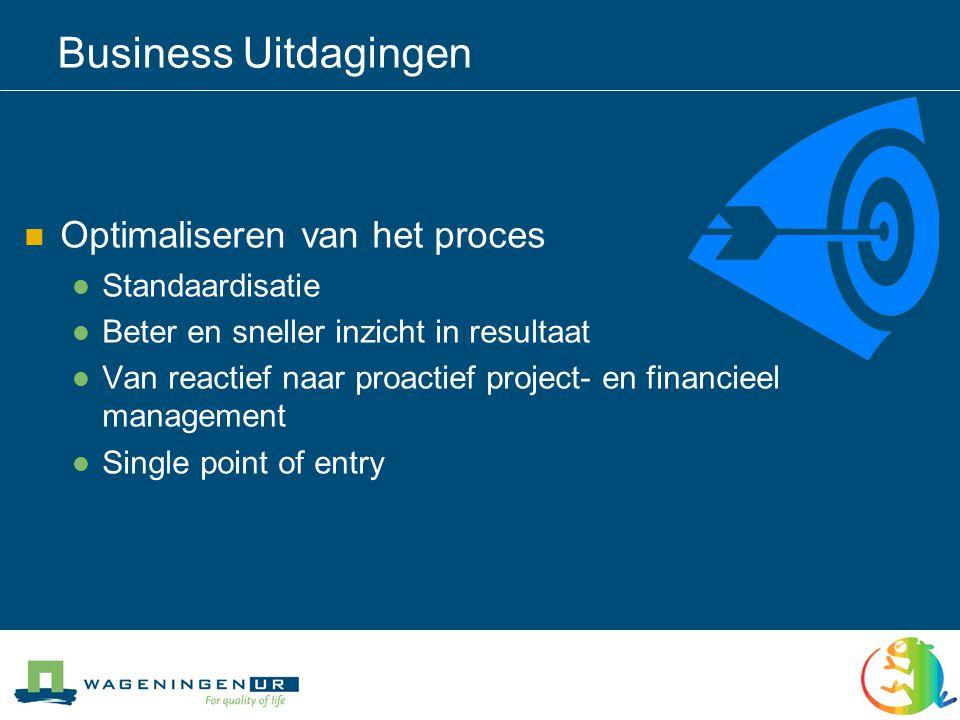 Business Uitdagingen  Optimaliseren van het proces  Standaardisatie  Beter en sneller inzicht in resultaat  Van reactief naar proactief project- en financieel management  Single point of entry