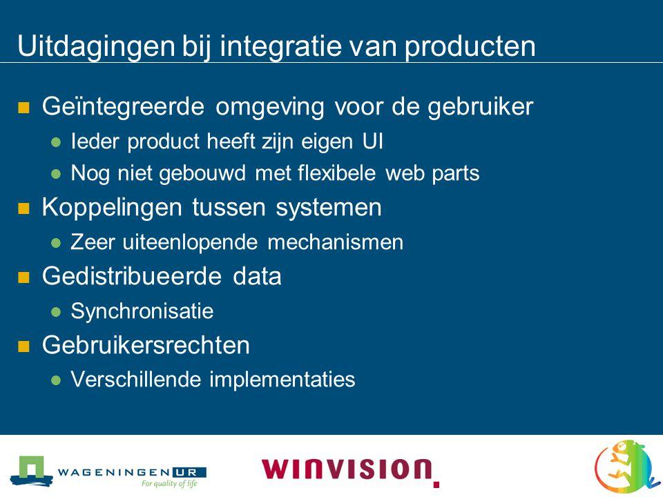 Uitdagingen bij integratie van producten  Geïntegreerde omgeving voor de gebruiker  Ieder product heeft zijn eigen UI  Nog niet gebouwd met flexibele web parts  Koppelingen tussen systemen  Zeer uiteenlopende mechanismen  Gedistribueerde data  Synchronisatie  Gebruikersrechten  Verschillende implementaties