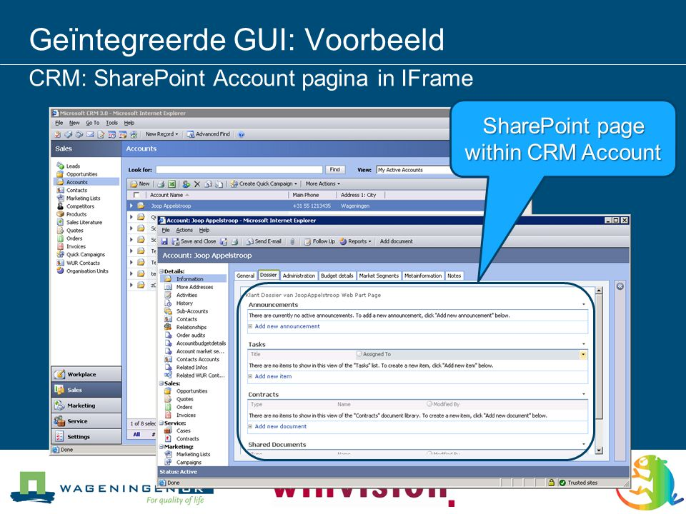Geïntegreerde GUI: Voorbeeld CRM: SharePoint Account pagina in IFrame SharePoint page within CRM Account