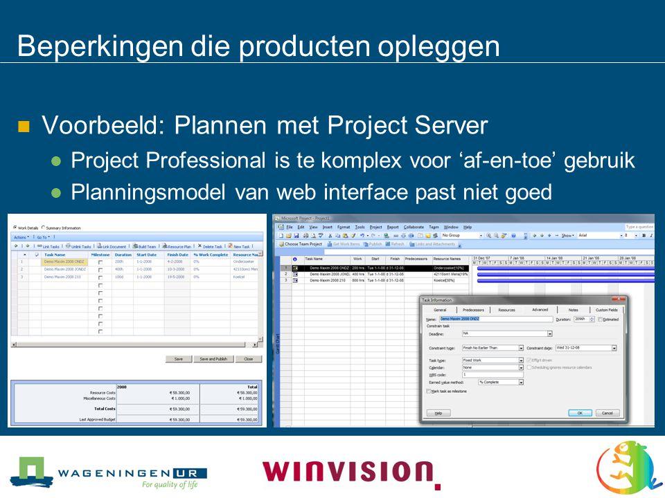 Beperkingen die producten opleggen  Voorbeeld: Plannen met Project Server  Project Professional is te komplex voor 'af-en-toe' gebruik  Planningsmodel van web interface past niet goed