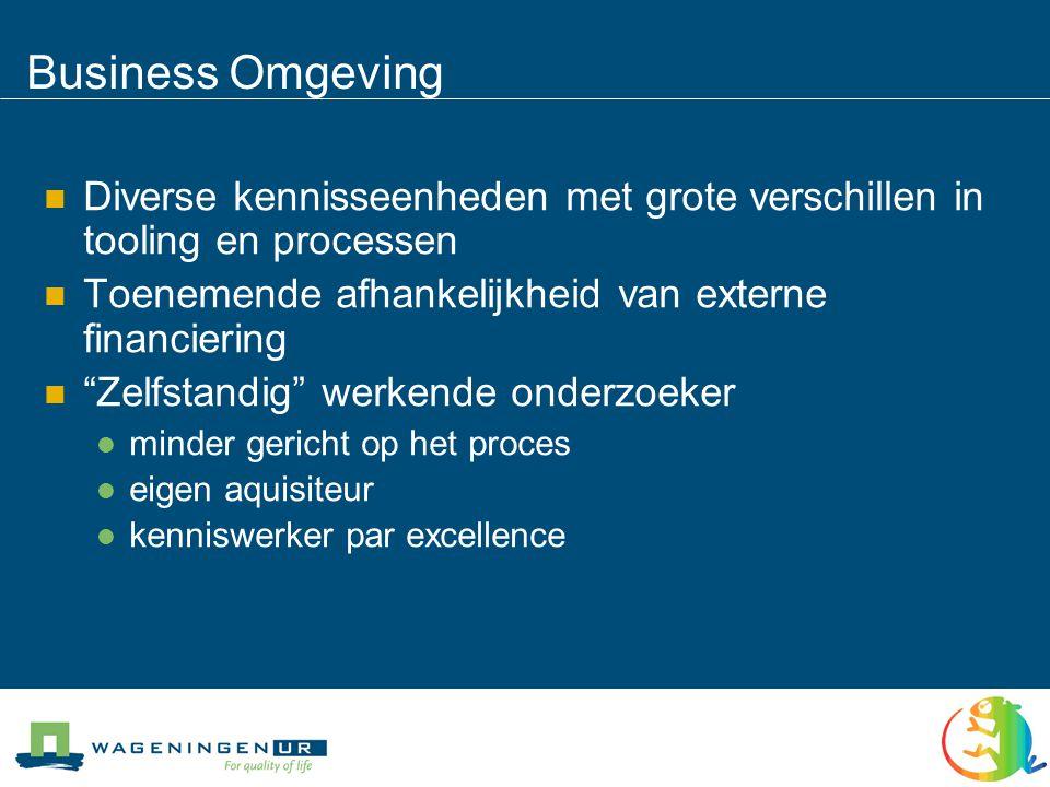 Business Omgeving  Diverse kennisseenheden met grote verschillen in tooling en processen  Toenemende afhankelijkheid van externe financiering  Zelfstandig werkende onderzoeker  minder gericht op het proces  eigen aquisiteur  kenniswerker par excellence