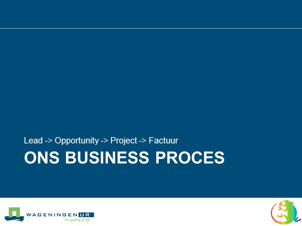 Lead Opportunity Project Invoice Business Process Eerste contact Behoeftes en risico s in kaart brengen Globaal project plan / budget Schrijven van offerteOrderOrder Definitief besluit LossLossLossLoss LossLossLossLoss Planning en Voortgangs- bewaking Uitvoering Tijdschrijven Financieel System Factuur