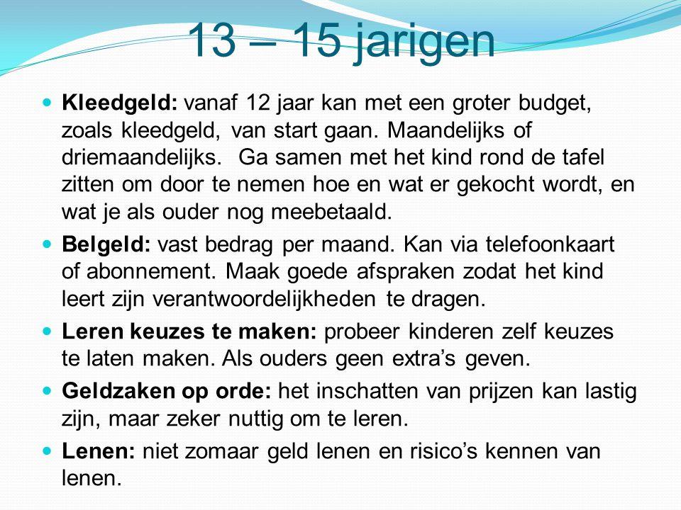 13 – 15 jarigen  Kleedgeld: vanaf 12 jaar kan met een groter budget, zoals kleedgeld, van start gaan. Maandelijks of driemaandelijks. Ga samen met he