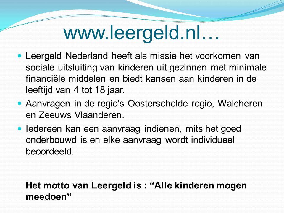 www.leergeld.nl…  Leergeld Nederland heeft als missie het voorkomen van sociale uitsluiting van kinderen uit gezinnen met minimale financiële middele